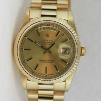 Rolex Day Date President Yellow Gold Champagne Index 36mm 18238 - WATCH CHEST