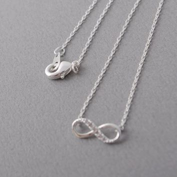 Tiny Infinity Crystal Pendant Necklaces for Women Choker Lucky Number Eight Geometric Silver Long Chain Necklace