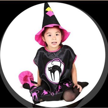 DCCKH6B 2016 New Cute Vampire Costume Halloween Costume for Kids Girl Pumpkin Witch Dress Set Black Witches Hat Children School Cosplay