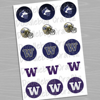 "University of Washington Huskies - Printable Bottlecap Images - Instant Download 1"" circles - 15 images - UW - UWash"
