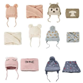 Cute Baby Hat Children's Hat & Scarf 2pcs/lot Baby Girl Hat Winter Double Layer Knit Warm caps Hats For Kids