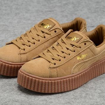 Mens Womens Puma Fenty by Rihanna Creepers Brown Gold Suede Shoes 7b71e442c