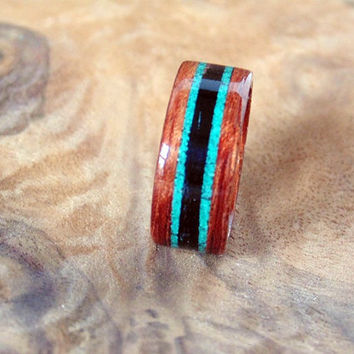 Bubinga wood ring with Malachite and Ebony inlays Bentwood ring