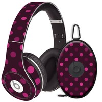 Black Raspberry Polka Dots Decal Skin for Beats Studio Headphones & Carrying Case by Dr. Dre