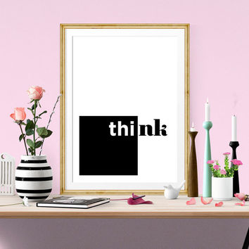 Think outside the box. Motivational. Inspirational. Typography Quote poster. Simple. Minimalist. Modern. Black and White. Geometric.