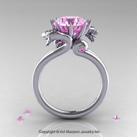 Art Masters 14K White Gold 3.0 Ct Light Pink Sapphire Dragon Engagement Ring R601-14KWGLPS