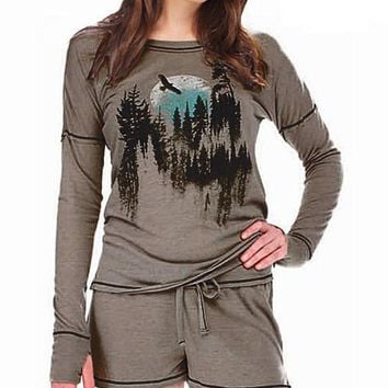 Picturesque Gray Jersey Tee & Shorts Set/Pajamas(XS-Small, Large-XL)