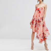 Hope & Ivy Asymmetric Cami Dress In Oversize Floral Print at asos.com