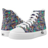 holographic silver sneakers shoes printed shoes