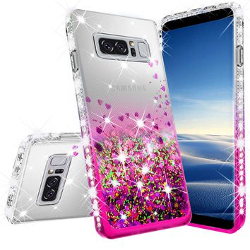 Samsung Galaxy Note 8 Case Liquid Glitter Phone Case Waterfall Floating Quicksand Bling Sparkle Cute Protective Girls Women Cover for Galaxy Note 8 - Hot Pink