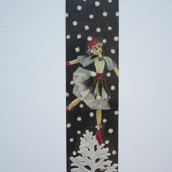 "Handmade unique bookmark ""Winter Music"" - Decorated with dried pressed flowers and herbs - Original art collage."