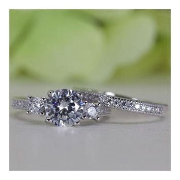 Micropavé Vintage Style Round Cubic Zirconia Engagement Ring Set In Sterling Silver