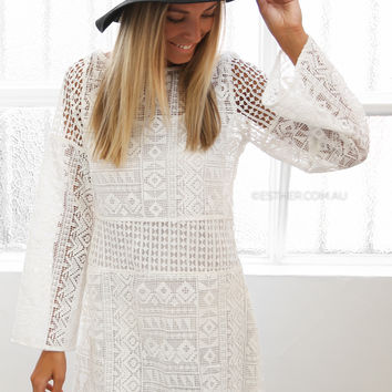 stevie may scarlett mini crochet dress - ivory - sale