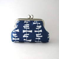 Frame Coin Purse- mini jewelry case with ring pillow -Little Kita in Blueberry