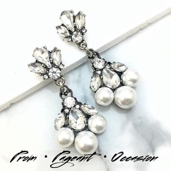 Pearl Crystal Special Occasion Earrings