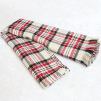 Plaid Fringed Scarf