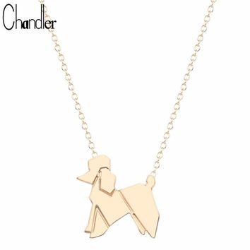 Chandler 2017 Brand Origami Lovely Balloon Poodle Dog Chian Necklace Gold-color Silver Plated Summer Jewelry Dog Love Pets Gifts
