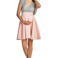 Pink and Grey Pleated Maternity Dress