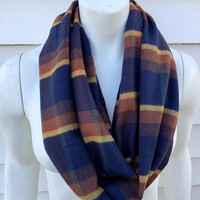 Women's-Fall-Flannel-Handmade-Chunky-Soft-Winter-Plaid-Infinity Scarf-Accessories-Gifts for Her-Thanksgiving