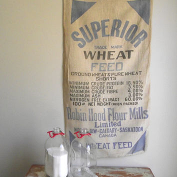 Vintage Grain Sack | Robin Hood Flour Mills | Farm Textile | Farmhouse Wall Decor | Superior Wheat Feed Bag