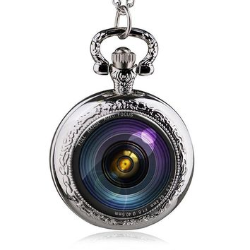 Black Old Camera Pocket Watch Floating Glass Lockets Necklace Antique Pocket Watch Necklace