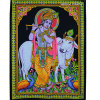 Hindu Lord Krishna With Flute And Cow Sequin Cotton Fabric Cloth Poster Tapestry on RoyalFurnish.com