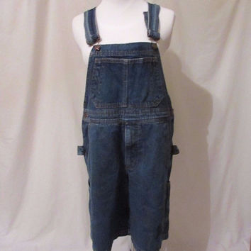 "Smith & Hawken Overalls Shorts Women's XS Waist 34"" Inseam 9 1/2"" Denim"