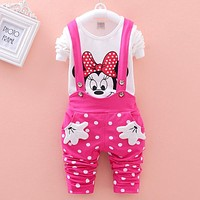 Vestidos Brand New 2016 Spring Children's Sets Minnie T-shirt & Polka Dot Overalls Girl Clothing Suits Kids Fall Bebes Clothes