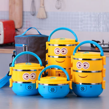 Cartoon Minion stainless steel  Lunch Box For Kids With Plastic Tiffin Boxes Thermal Bento