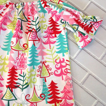 Girls Christmas Peasant Toddler Dress Boutique Clothing by Lucky Lizzy's 2014