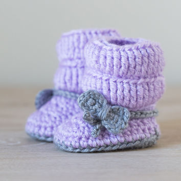 """CassisViolette"" Baby Booties, Slouch Boots, Newborn Booties, Photo Props, Pregnancy Announcement"