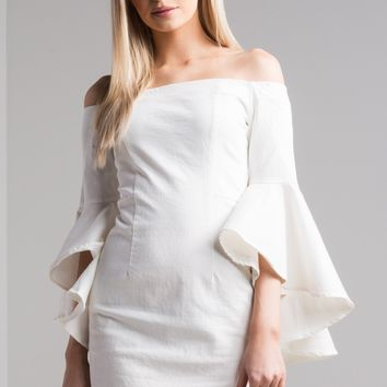AKIRA Off Shoulder Ruffle Sleeve Bodycon Mini Dress in White