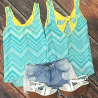 Bow Back Chevron Top