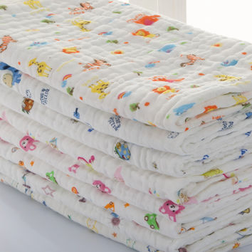 Baby  Swaddles 110*110cm 100% Seersucker Muslin Cotton 6 Layers Newborn Baby Quilt Blankets Soft Bath Hold Wraps