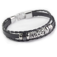 Hot Sale Gift Great Deal New Arrival Shiny Awesome Stylish Men Leather Hollow Out Accessory Ring Cool Bracelet [6526750595]