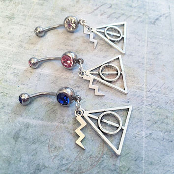 Wizard Belly Ring, Wizard Belly Button Ring, Wizard Accessories, Sorcery Accessories, Belly Rings, Fandom Jewelry, Piercings,Fangirl Jewelry