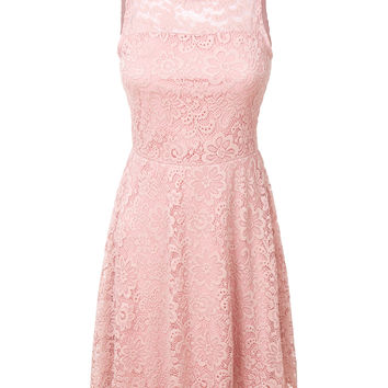 LE3NO Womens Flared Sleeveless Floral Lace A Line Dress