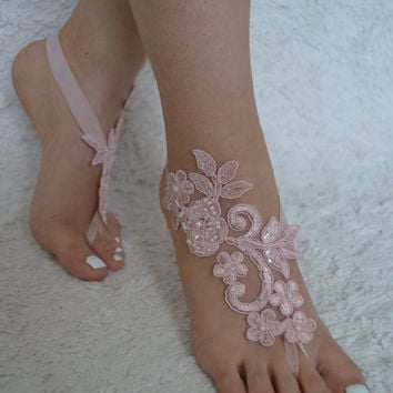 pink barefoot sandals  beach wedding barefoot sandals lace barefoot sandals beach lace wedding shoes  lace wedding shoes short lace barefoot