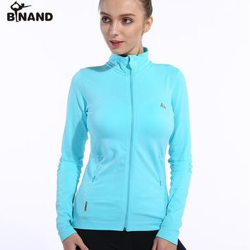 BINAND Full Zipper Standing Collar Side Pocket Yoga Jacket Females Absorb Sweat Elastic Training Workout Long Sleeve Sweatshirt
