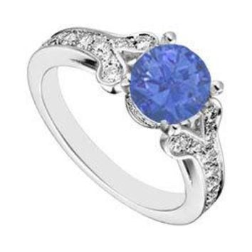 Sterling Silver Created Blue Sapphire and  Cubic Zirconia Engagement Ring 4.00 CT TGW