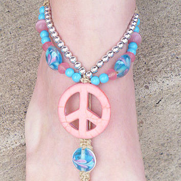 Pink Light Blue Peace Sign Hemp Barefoot Sandals   handmade macrame  hippie   beach  bottomless sandal foot thong