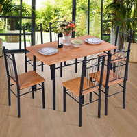 Giantex 7pcs Dining Set Table 6 Chairs Kitchen Modern Furniture Wood Steel Frame