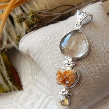 Artisan Sterling Silver Rutilated Quartz Faceted Citrine & Druzy Pendant