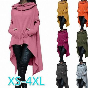 Women's Coat Long Sleeve Casual Poncho Coat Pullover Hoodie Sweatshirt S-5XL