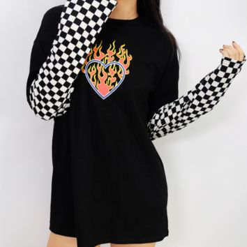 Explosive style new wind flame print checkerboard long sleeve long T-shirt