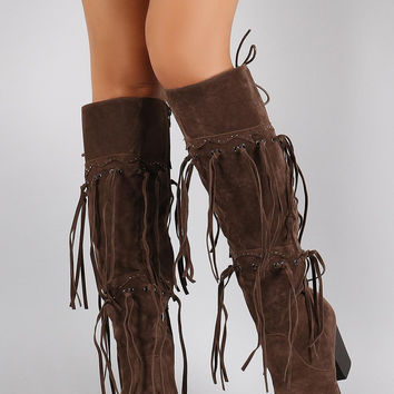 Western Knotted Fringe Over the Knee Boots