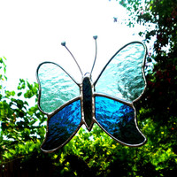 Butterfly Deep Aqua and Sea Green Stained Glass Suncatcher Gift for Mom Butterfly Art Home Decor Window Ornament Garden Decoration Glass Art