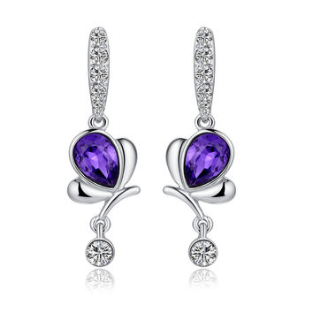Butterfly Teardrop Crystal and Sparkle Rhinestone Earrings - Purple