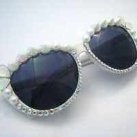 Pastel Rainbow Spike White Sunglasses - Cat Eye Shape Bedazzled Sunnies w/ Opal Pearls, Spikes, & AB Rhinestone Crystals