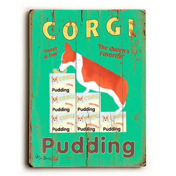 Corgi Pudding by Artist Ken Bailey Wood Sign
